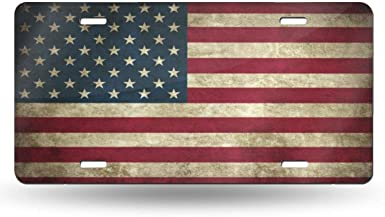 FJyuanqi Spiritual Rose Sunflower American Flag Pattern License Plate Aluminum Metal License Plate Car Tag Novelty Home Decoration for Women Girls Men Boys 6 inch X 12 inch