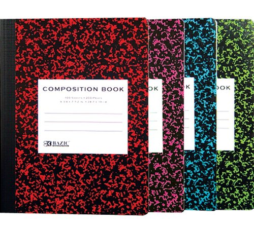 Bazic Composition Book, Wide Ruled, Assorted Colors Marbl...