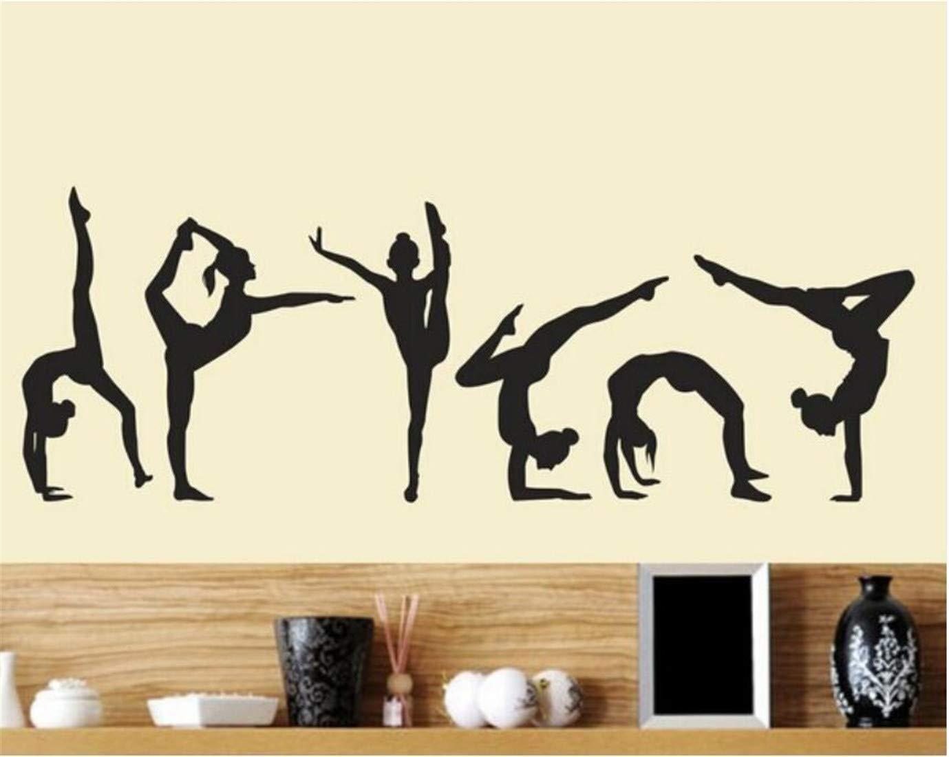 Deyimr Danse Filles Gymnastique Sticker Mural Sport Vinyle Art Mural Autocollant Dé coration De La Maison Papiers Peints Dé cor 20X60Cm, A
