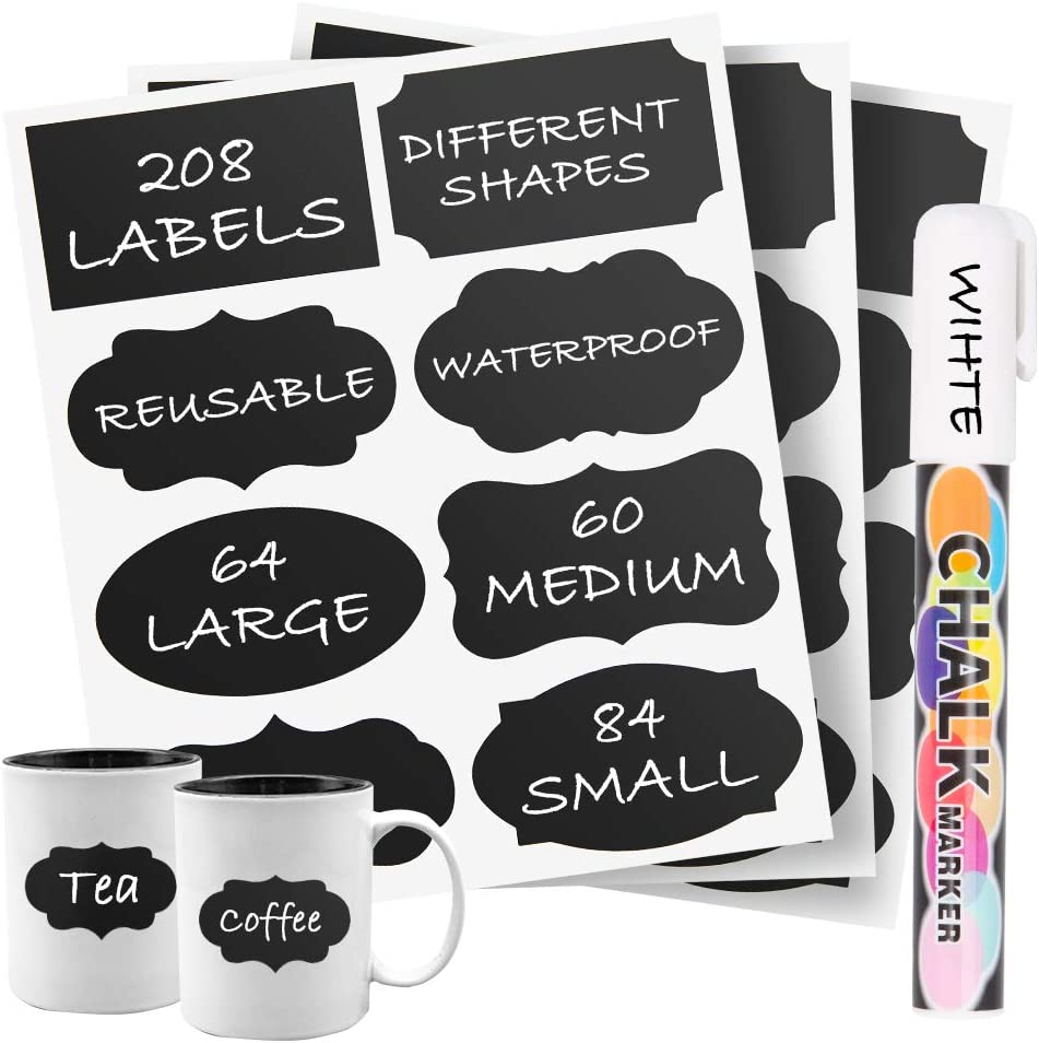 208PCS Chalkboard Labels Stickers, Waterproof Removable Erasable Decorative Premium Label Sticker with Chalk Marker for Pantry,Bottles,Mason Jars,Containers,Organize Your Kitchen&Office (White marker)