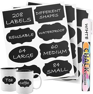 Chalk Board Mason Jar Labels Removable Blackboard Sticker Label for Jars 96 Premium Chalkboard Labels with Erasable White Chalk Marker Included