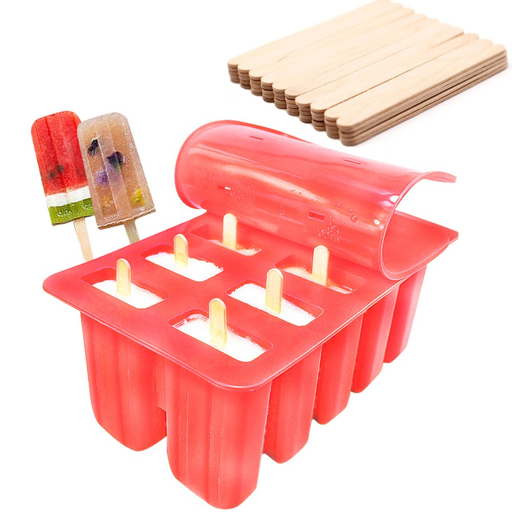 Ireav Food Grade Silicone Popsicle Cream Tray Summer Cool Ice Popsicle Mold With Cover Kitchen Mold