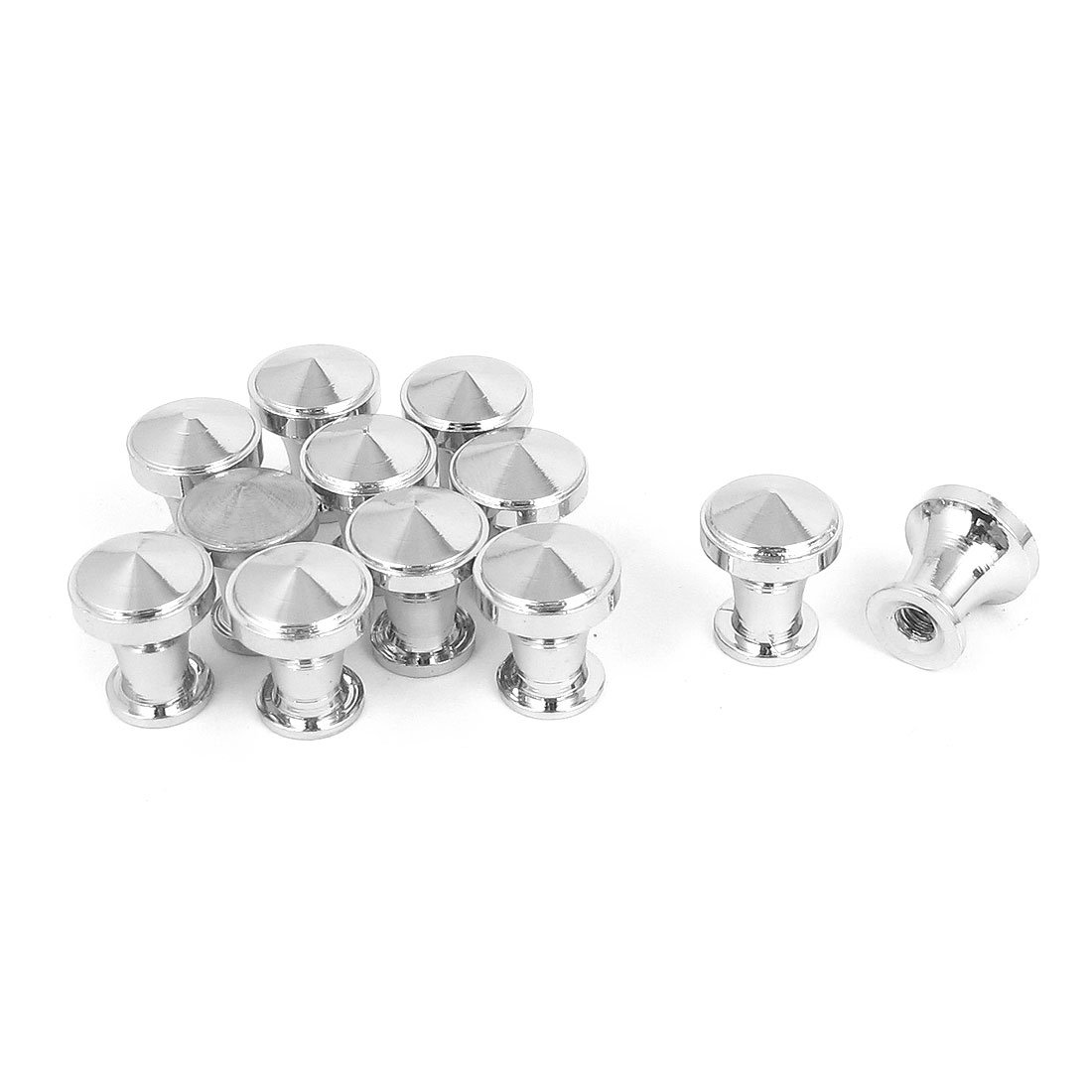 Lannmart 12 Pcs Silver Tone Round Cupboard Drawer Metal Pull Knob Handle Grip 12Mm Dia