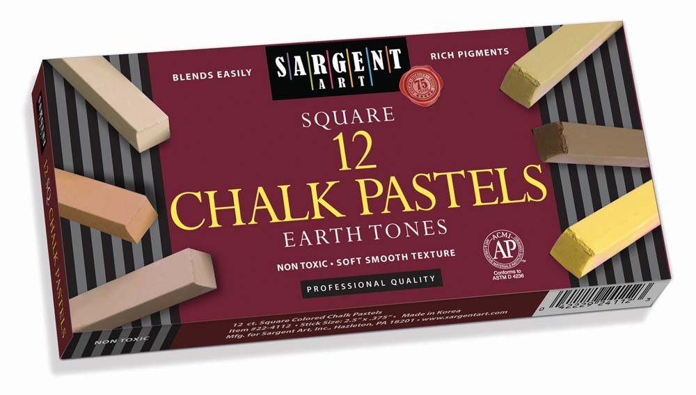 Sargent Art 22-4113 Square Chalk Pastels, Multicultural and Earthtones, 12 Count