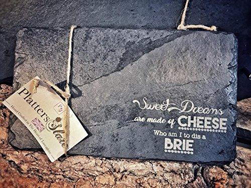 Slate Cheese Board Gift | 30x 17cm inciso rettangolare da portata in ardesia per formaggi | Sweet Dreams are made of Cheese | perfetto regalo di compleanno per il formaggio Lover Platters Slate