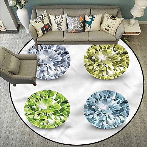Living Room Round Mat,Diamonds,Crystal Stones Marriage,Anti-Static, Water-Repellent - Anti Static Chair Diamond Mats