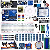 WeiKedz UNO Project Super Starter Kit with Lessons CD, Relay, UNO R3, Jumper Wire, SG90 Servo, Joystick Module, Ultrasonic Sensor, DHT11, ect. for Arduino with Free Touch Module