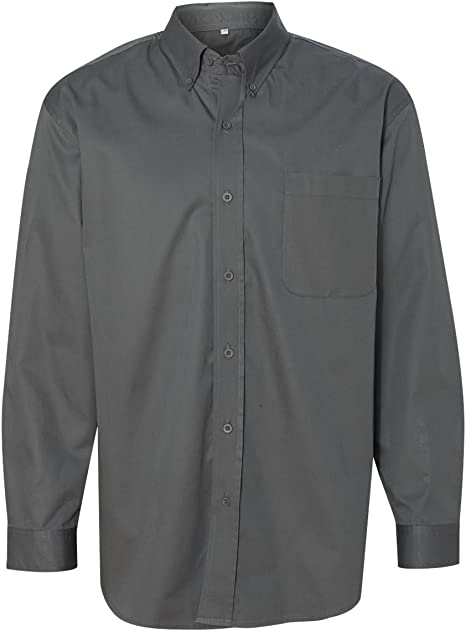 American Apparel Work Shirt Oxford Long Sleeve Button Cool Black Grey Twill XS