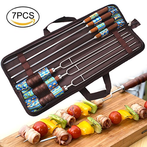 Firlar Marshmallow Roasting Sticks, Set of 7 Barbeque Forks Grilling Skewers with Wooden Handle for Camping Campfire Firepit Sausage BBQ ()