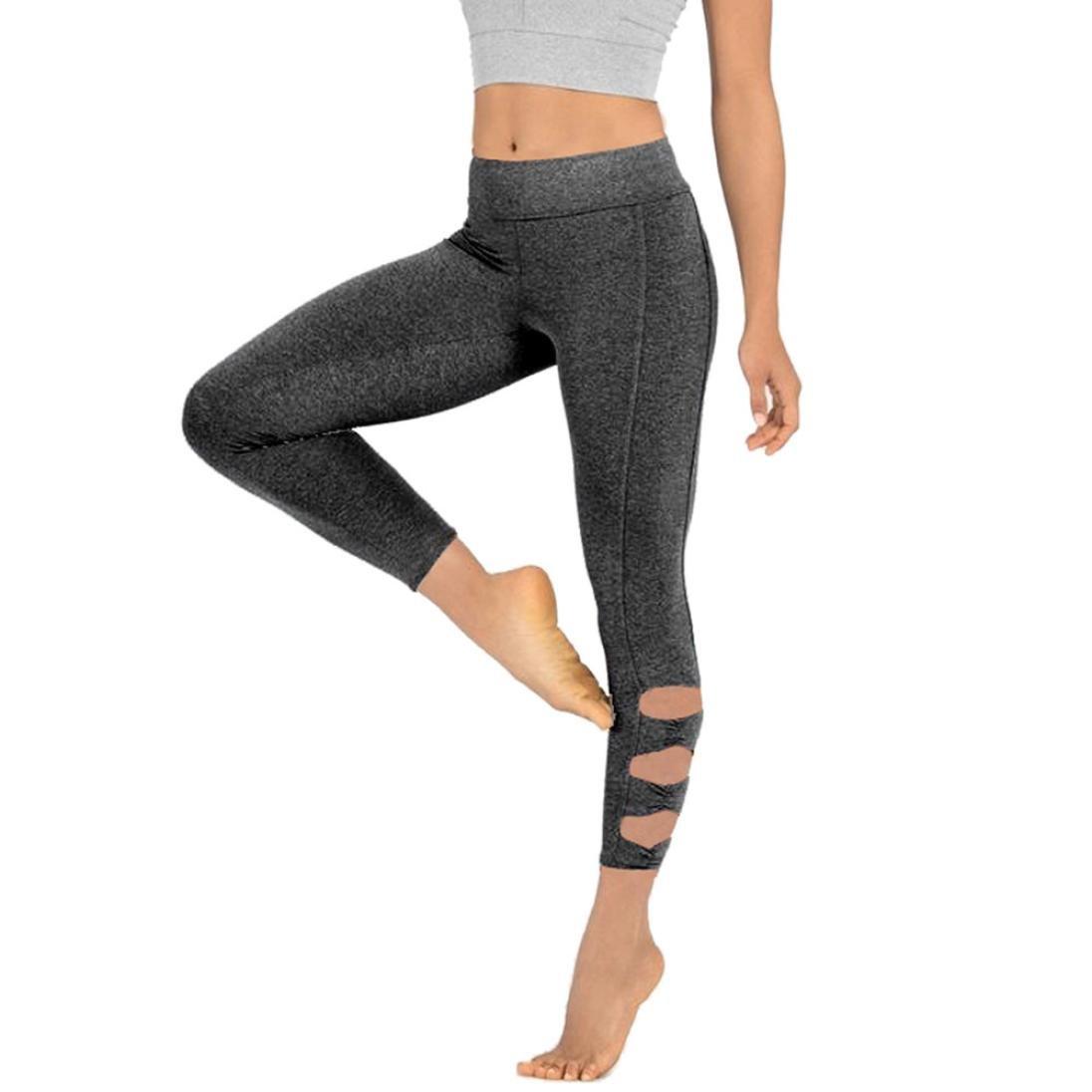 e6a20ac403cdc1 Amazon.com: Pocciol Mesh Yoga Leggings, Women Cutout Tie Mid Waist Fitness  Gym Trousers Sport Running Pants (S, New-Gray): Pet Supplies
