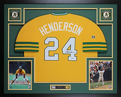 Rickey Henderson Autographed Yellow Oakland Athletics Jersey - Beautifully  Matted and Framed - Hand Signed By 94b6d0423