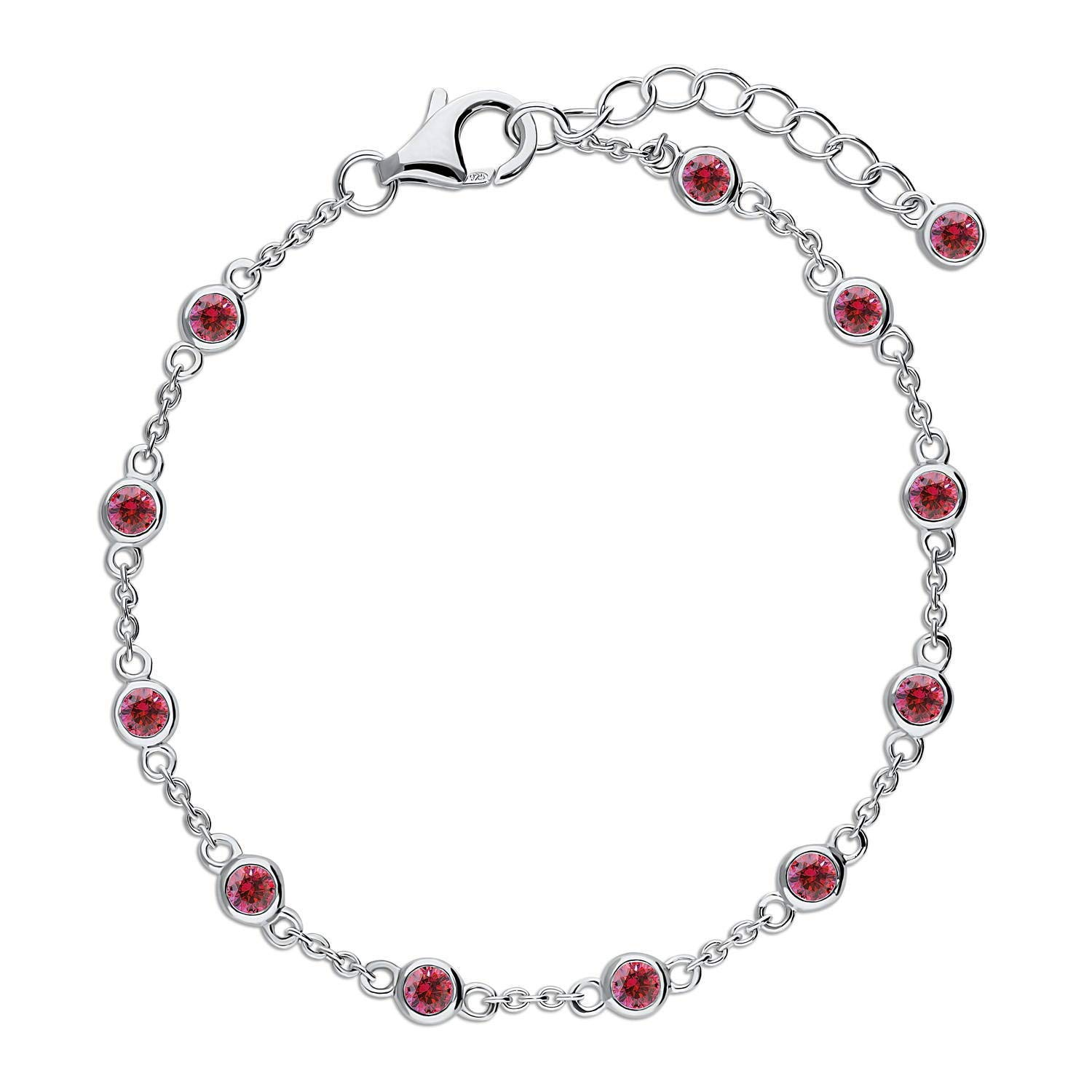 BERRICLE Rhodium Plated Sterling Silver by The Yard Wedding Station Bracelet Made with Swarovski Zirconia Red