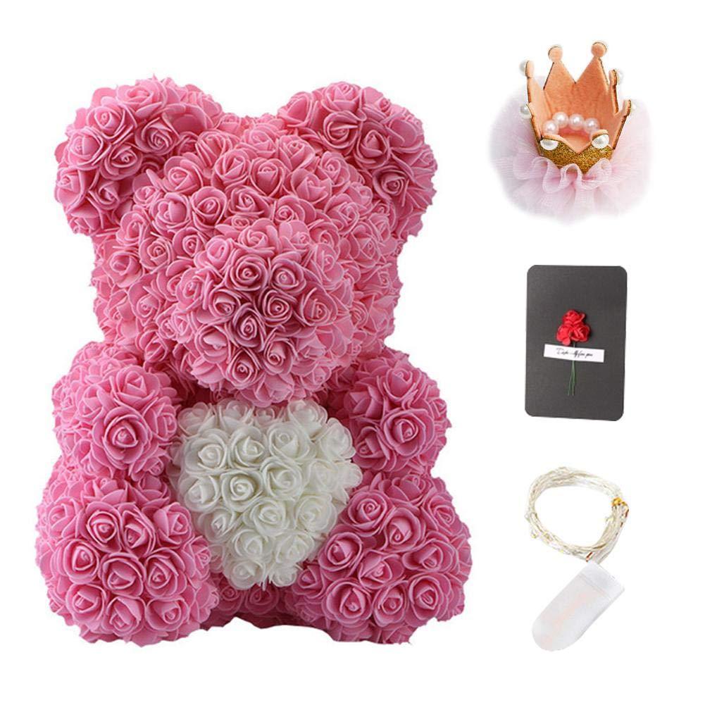 K/ünstlicher Rosen Teddyb/är mit Herz und Krone Bunter Rose Teddyb/är 40cm bestes kreatives Freundin-Geburtstagsgeschenk Valentinstagsgeschenk
