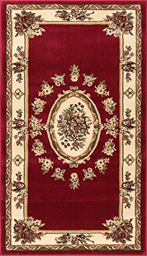 Well Woven Pastoral Medallion Red French 2x4 (23 x 311) Area Rug European Floral Formal Traditional Area Rug Easy Clean Stain Fade Resistant Modern Classic Contemporary Thick Soft Plush Doormat