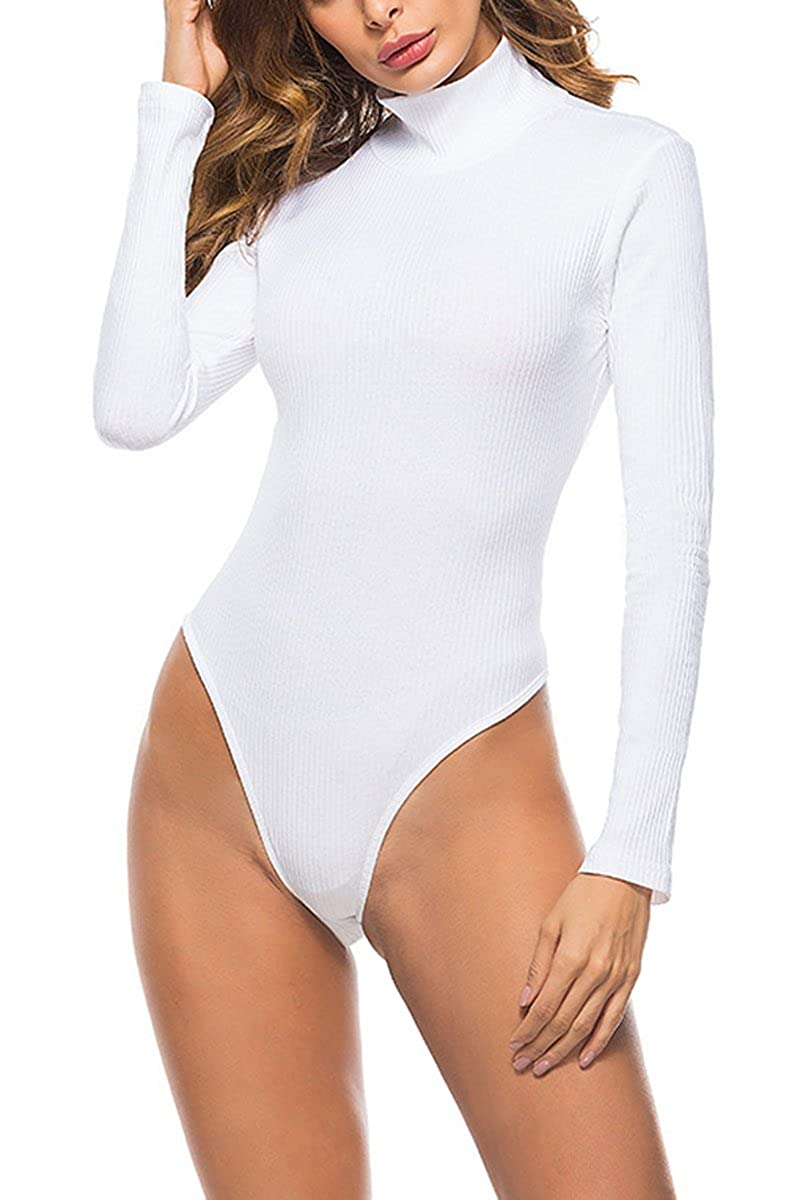 c11cedc0c3 Features  Turtleneck Long Sleeve Snap Crotch Solid Color Stretchy Ribbed  Knit;Bodysuit Leotard