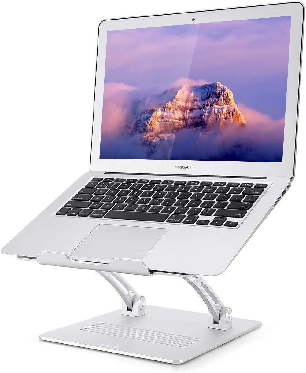 """Laptop Stand Ventilated Portable Ergonomic Notebook Riser, Multi-Angle Adjustable Portable Anti-Slip Mount with MacBook, Air, Pro, Dell XPS, Samsung, Alienware All Laptops 10-17.3"""" - Silver…"""