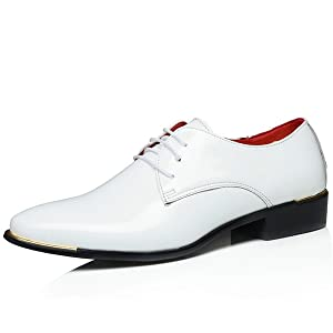 Men's Lace Up Formal Modern Oxford Dress Shoes Fashion Leather Shoes Business Shoes (8.5, White)