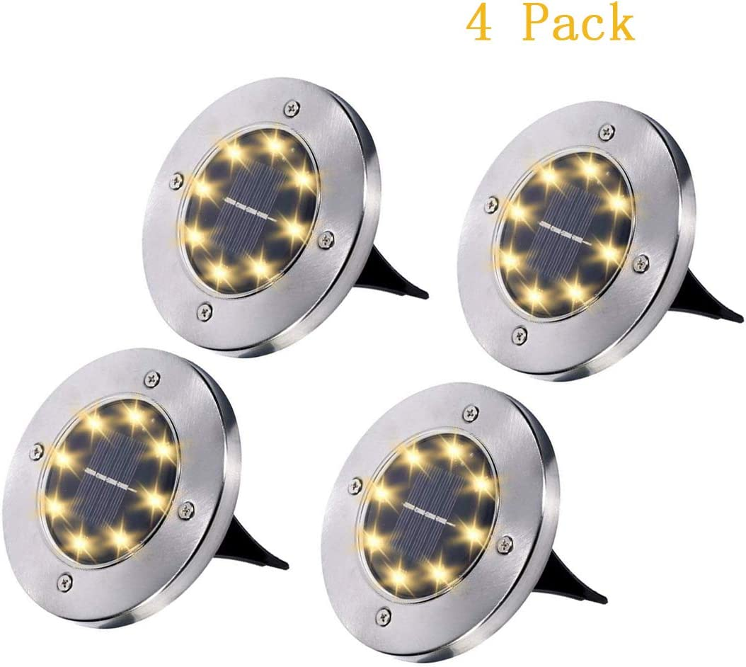 Solar Ground Lights, Solar Garden Lights, 8 Wick Cold White Light Outdoor Solar Disk Lights, Waterproof In-Ground Lights, Landscape Lights for Pathway, Yard, Deck, Patio, Walkway, 4 Packs Warm White