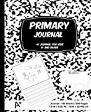 Primary Journal: Black and White Marble,Composition Book, draw and write journal, Unruled Top, .5 Inch Ruled Bottom Half, 100 Sheets, 7.5 in x 9.25 in, 19.05 x 23.495 cm,Soft Durable Cover