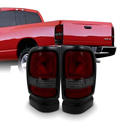 For Dodge Ram 1500/2500/3500 Pickup Truck Red Smoked Tail Lights Brake Lamps Replacement Left + Right: Automotive