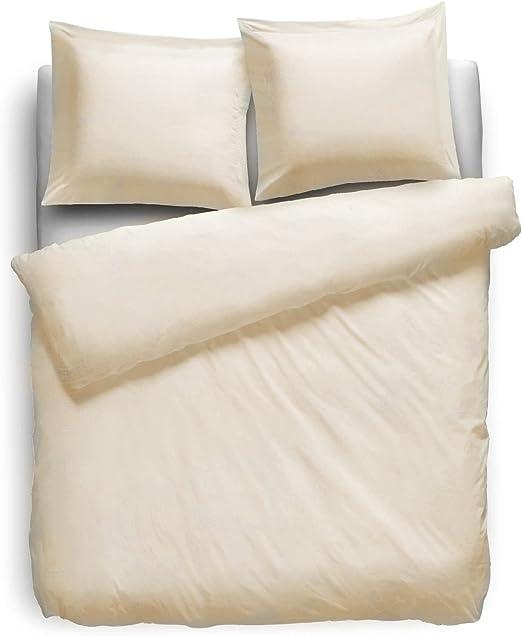 F2F Uni - Ropa de cama, 100 % algodón, blanco hueso, 200 x 200 cm + 2 x 80 x 80 cm: Amazon.es: Hogar