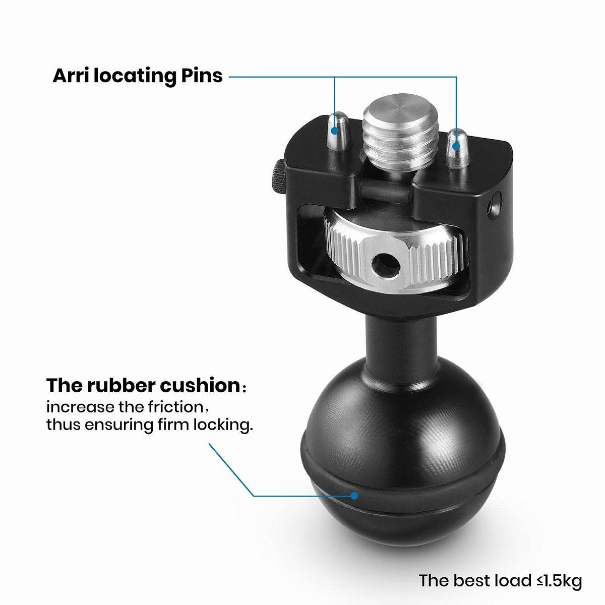 SMALLRIG Cabeza de Bola con 3//8 Locating Pins y Coj/ín Anular Antideslizante 2114