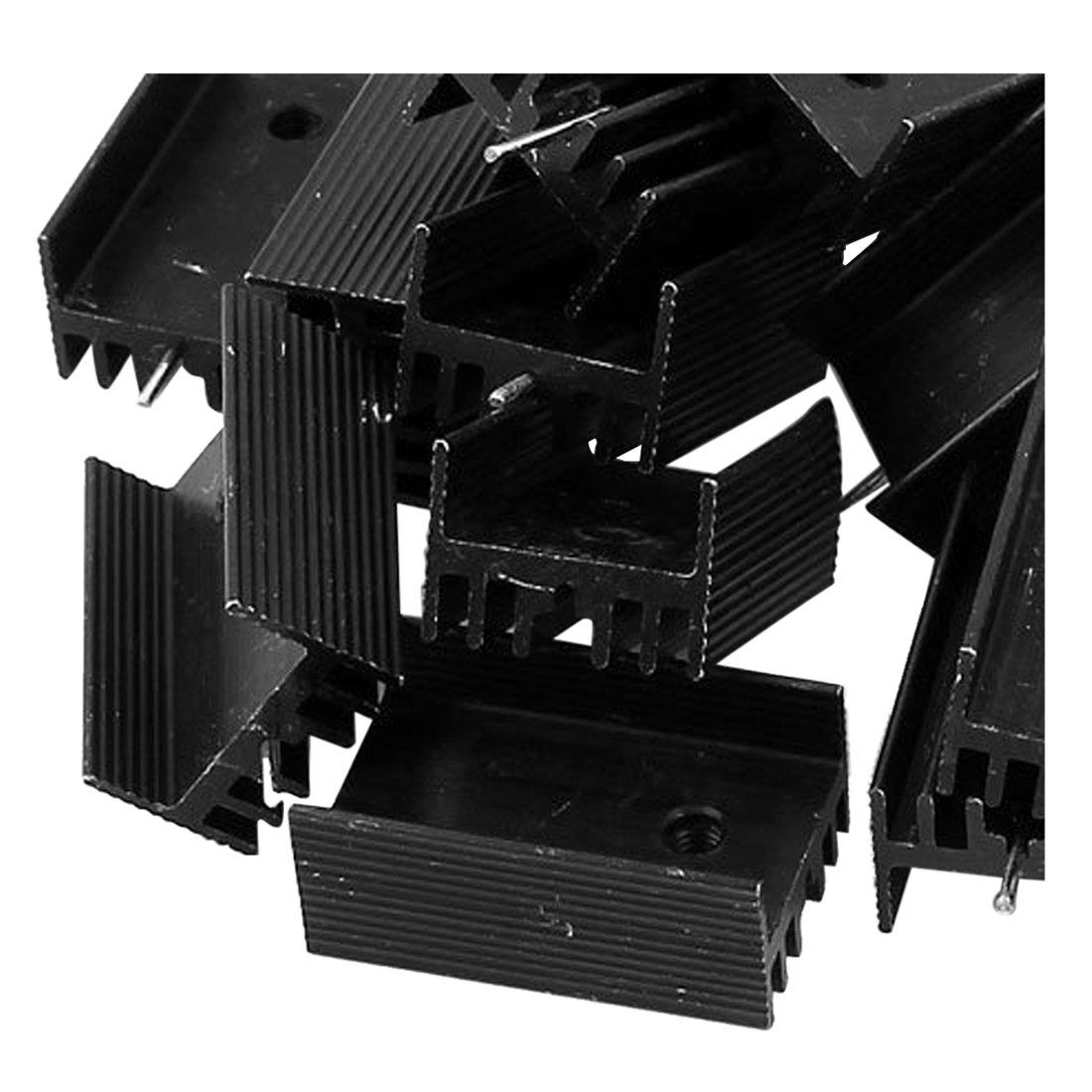 WOVELOT 20xnoir Aluminium radiateur Dissipateur 25 x 15 x 10mm pour TO-220 IC