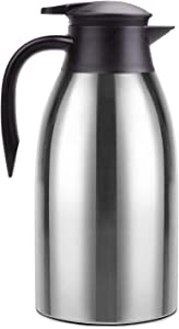 Thermal Coffee Carafe Stainless Steel 68oz(2 Lifter) Double Walled Vacuum Coffee Thermos Water Beverage Dispenser 12 Hour Heat Retention/24 Hour Cold Retention