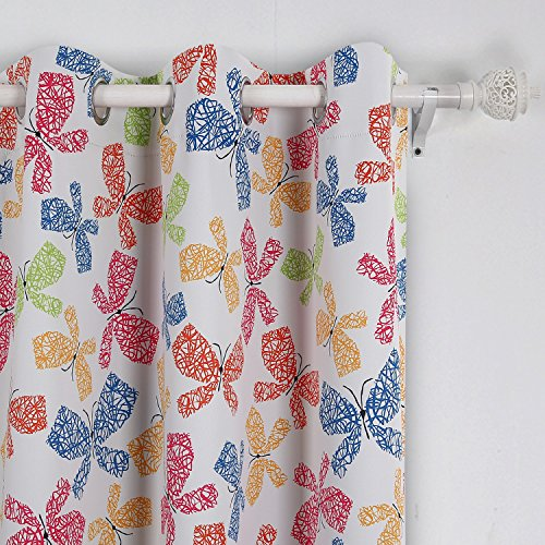 Deconovo Colorful Butterfly Print Curtain Grommet Top Bla...