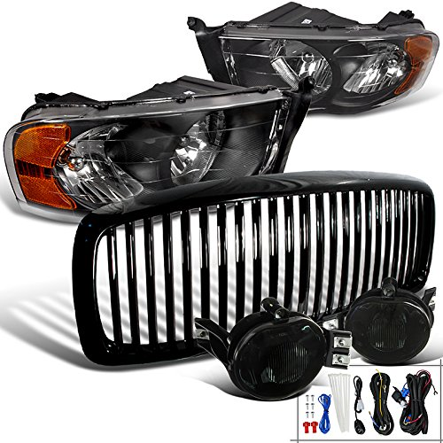 Dodge Ram 1500 2500 3500 Black Headlights, Vertical Grille, Smoked Fogs Llights