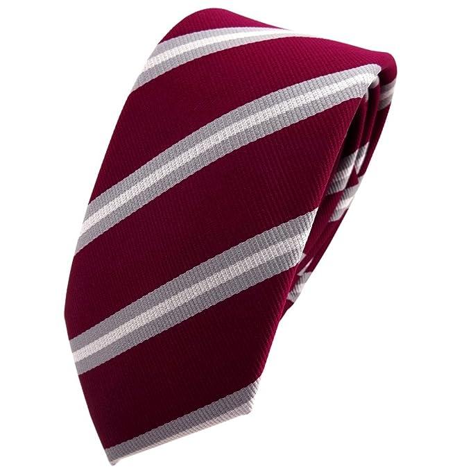 TigerTie - corbata estrecha - rojo violeta burdeos gris plata ...