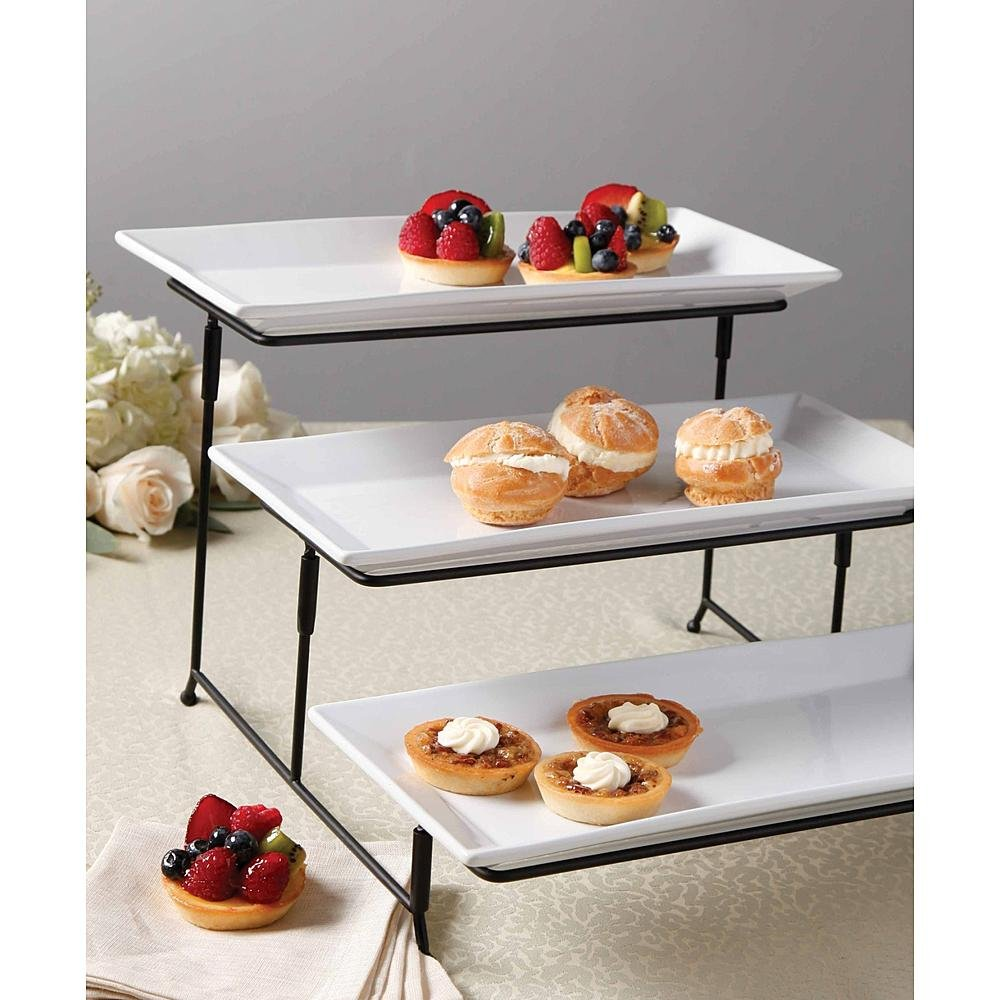 Amazon.com | WCI 3 Tier Rectangular Serving Platter Set With Metal Rack - Three Tiered Dessert Cake Appetizer Set Display Tray Stand WHITE Accent Plates  sc 1 st  Amazon.com & Amazon.com | WCI 3 Tier Rectangular Serving Platter Set With Metal ...