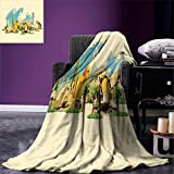 smallbeefly Landscape Digital Printing Blanket Doha Historical Arabian Qatar Avant Garde Watercolor Panorama with Brush Strokes Summer Quilt Comforter Multicolor