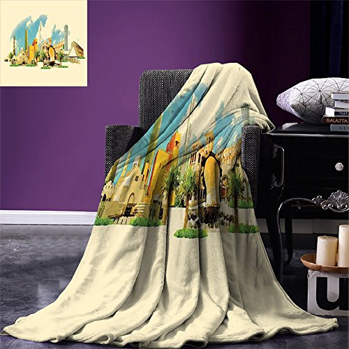 smallbeefly Landscape Digital Printing Blanket Doha Historical Arabian Qatar Avant Garde Watercolor Panorama with Brush Strokes Summer Quilt Comforter Multicolor by smallbeefly