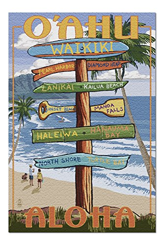 Waikiki, Oahu, Hawaii - Aloha - Sign Destinations (20x30 Premium 1000 Piece Jigsaw Puzzle, Made in USA!)