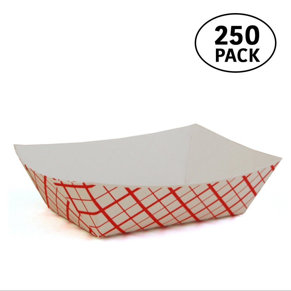 Paper Food Tray, Paperboard Tray for Carnivals, Fairs, Festivals, and Picnics. Holds Nachos, Fries, Hot Corn Dogs, and more, 2lb, 250 Pack,