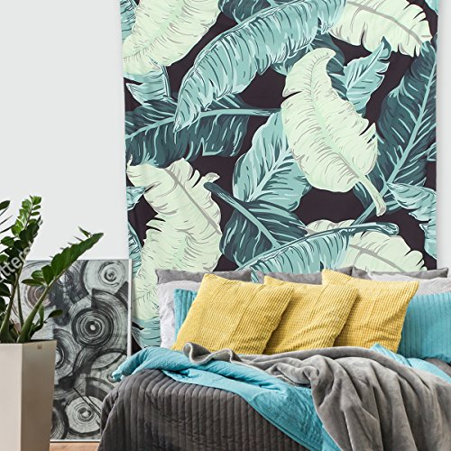 KINGSO Tropical Banana Palm Leaf Tapestry Wall Hanging Blanket Bohemian Bedspread Cover Hippie Beach Towels Bedroom Living Room Dorm Wall Decor - Leaves Wall Tapestry