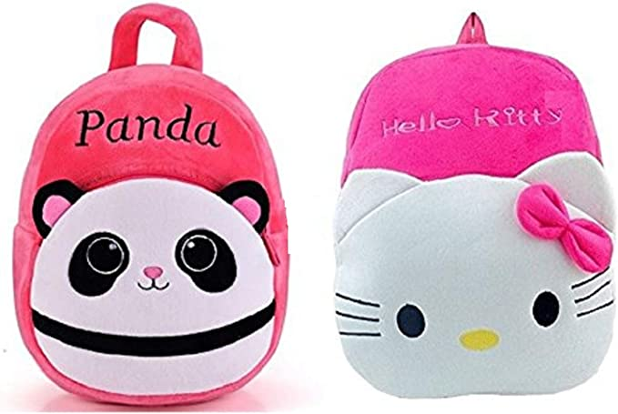 Blue Tree Tree Panda and Hello Kitty Plush Soft School Bag for Girls and Boys (Pink, 3 to 5 Years)