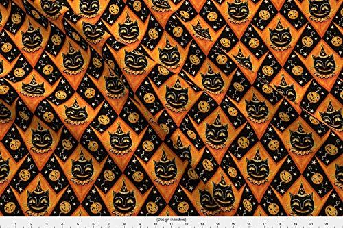 (Johanna Parker Fabric - Johanna Parker Halloween Black Cat Jackolantern Vintage Whimsical Illustration Pumpkin - by Johannaparkerdesign Printed on Lightweight Cotton Twill Fabric by the)