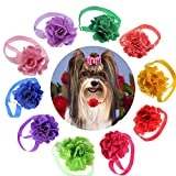 yagopet 10pcs/pack Cat Dog Bow Ties Flower Ball with Tulle Dog Bowties Collar Festival Puppy Cat Dog Ties Dog Grooming Accessories