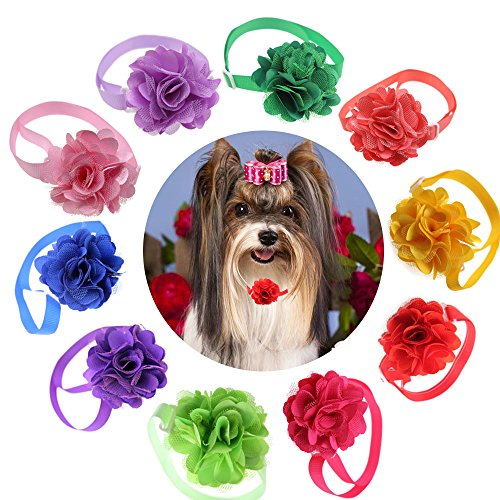 yagopet 10pcs/pack Cat Dog Bow Ties Flower Ball with Tulle Dog Bowties Collar Festival Puppy Cat Dog Ties Dog Grooming Accessories by yagopet