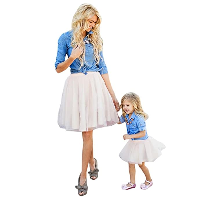 e2cd4abf54 Appoi Mommy and Me Women Demin T Shirt Tops+Skirt Dress Family Clothes  Outfits Set