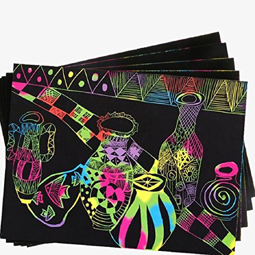 Naladoo 10 Sheets Magic Scratch Art Painting Paper With Drawing Stick Kids Toy 16K by Naladoo