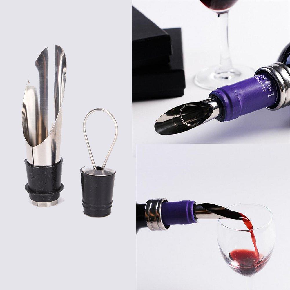 cavatappi set anello di goccia,tappo della bottiglia,migliori strumenti di vino Set Pourer Set Apribottiglie /& Set regalo del vino 4 pezzi -accessori per vino tra cui