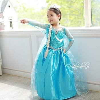 Ogquaton Elegante Niño Snow Queen Elsa Disfraz Niñas Adorables Vestido de Princesa Vestido Brillante para Fiesta de Halloween Uso 1Set