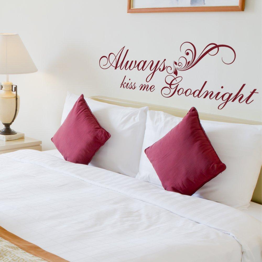 Amazon.com: Always Kiss Me Goodnight, Bedroom Wall Decal ...