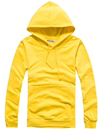 Damen Kapuzen Langarm Dünn Sweatshirt Pullover Volltonfarbe