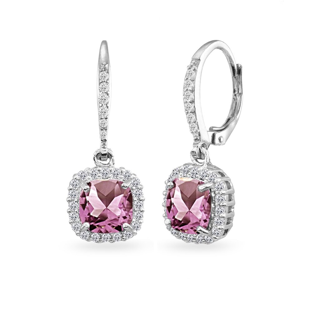 5203a5df74001 Sterling Silver Genuine, Created or Simulated Gemstone Cushion-Cut Dangle  Halo Leverback Earrings for Women