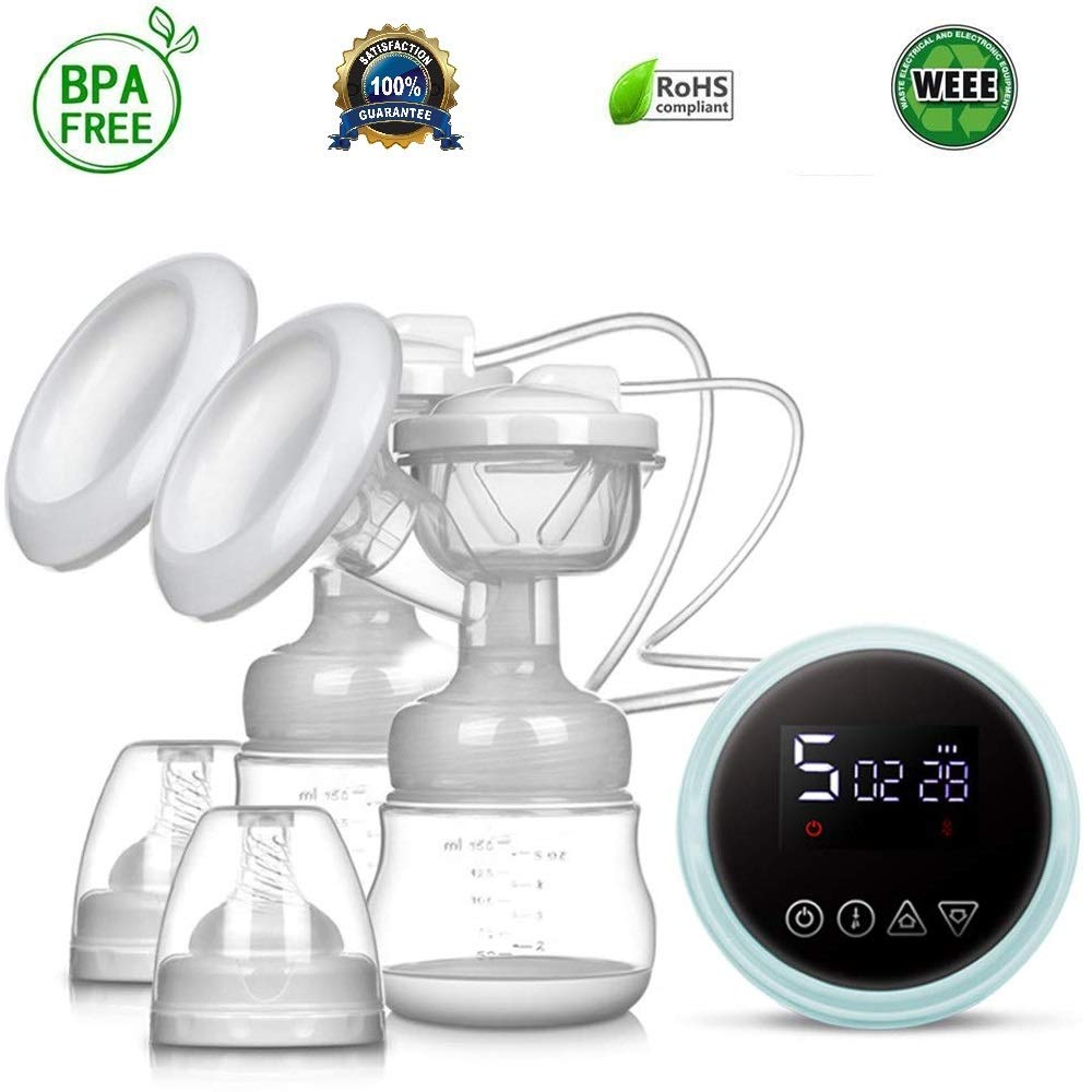 Electric Breast Pump Safe and Hygienic Rechargeable Nursing Breastfeeding Pump with Massage Mode, LCD Smart Touch Screen, 3 Modes (9 Levels Each Mode) and Backflow Protector BPA Free FDA Certified