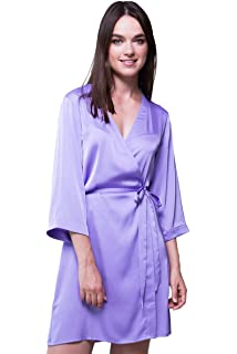 408a0e0e18 Bunny Street Premium Quality Satin Robe - Lilac, Purple - Kimono Dressing  Gowns for Bride and Bridesmaids on Wedding…